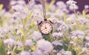 clock-alarm-chain-flowers-nature